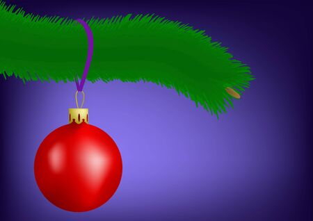 pine branch: Red christmas ball on a pine branch Illustration