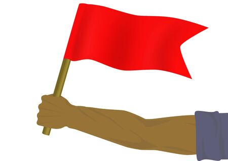 Red small flag in a hand