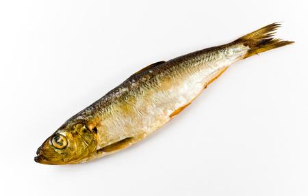 sprat: Salaca, smoked on a white background Stock Photo