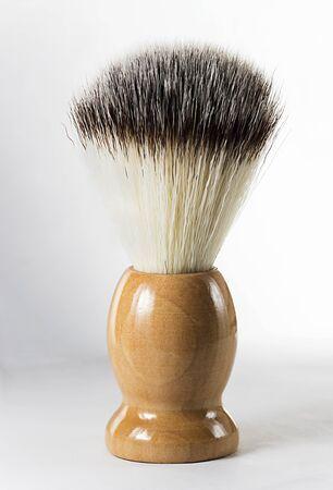 barber: Shaving brush on white background Stock Photo