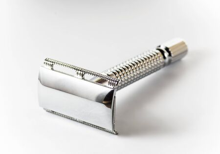 Razor from steel isolated on white background