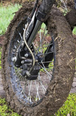 Cross-wheel motorcycle in the mud