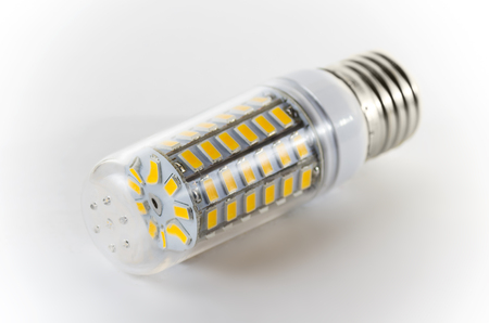 led lighting: Bulb led on a white background Stock Photo