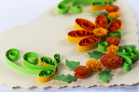 card making: Bright quilling in the form of a flower