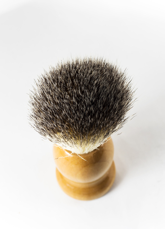 Shaving brush on white background Stock Photo
