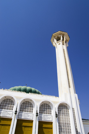 Mosque with a minaret on the sky
