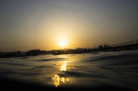 Colorful sunset on the sea coast