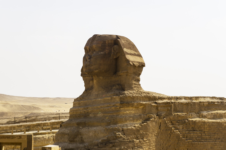 Head of the Sphinx in the background of the sky and the desert
