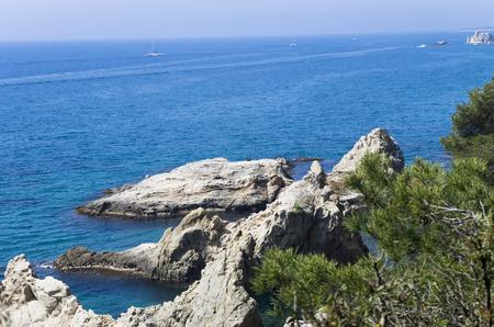 Costa Bravo seaside in sunny weather Banco de Imagens