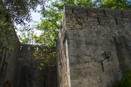 The old fortress wall in the city of Gerona Banco de Imagens