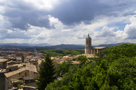 Landscape of the city of Girona from the hill