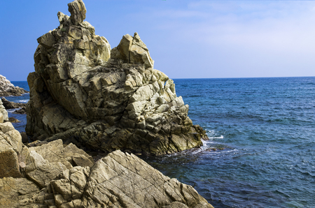 Rocky shores of the Mediterranean Sea Banco de Imagens