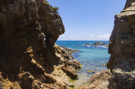 Passage in the rocks to the sea