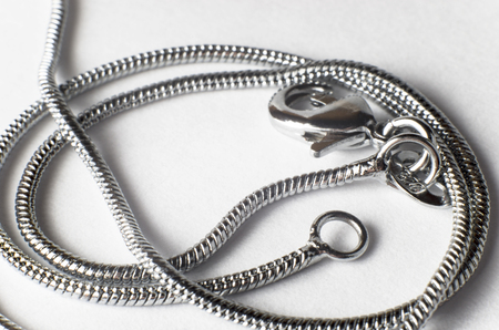 Silver chain on a white background, large