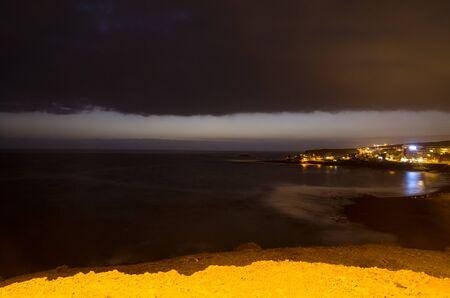 Night landscape of the coast of Tenerife Island Archivio Fotografico - 132074096