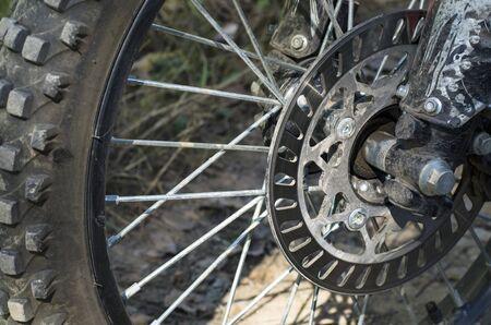 Enduro Wheel Motorcycle Front Archivio Fotografico - 132073103