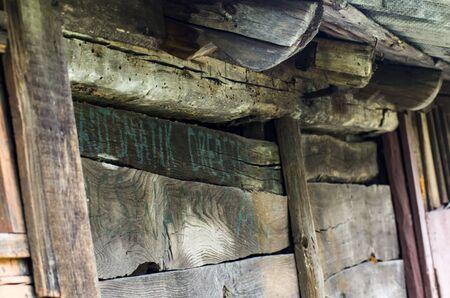 Old textured wooden barn wall Archivio Fotografico - 132073629