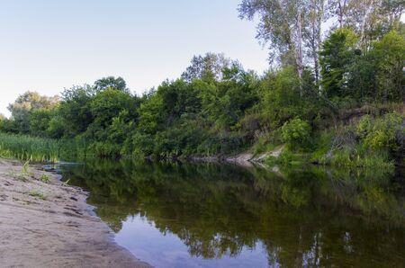 Evening landscape of a small river Archivio Fotografico - 132073018