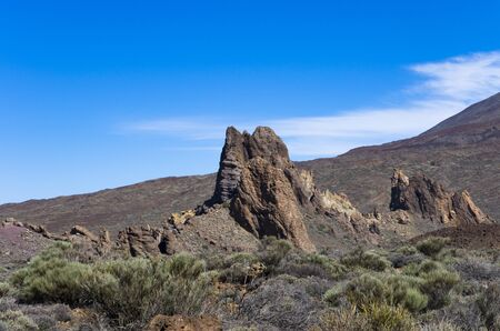 Landscape with rocks in the valley of the Teide volcano Archivio Fotografico - 132074055