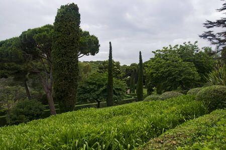 Landscape of Clotilde Park in Spain in cloudy weather Archivio Fotografico