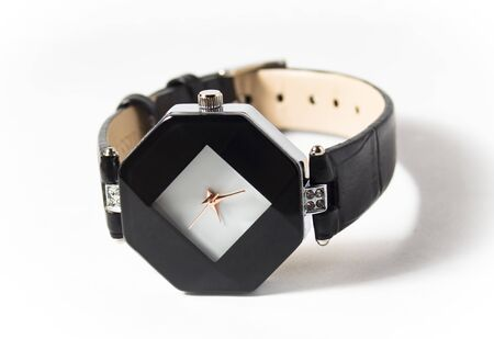 One dark watch isolated on a white background