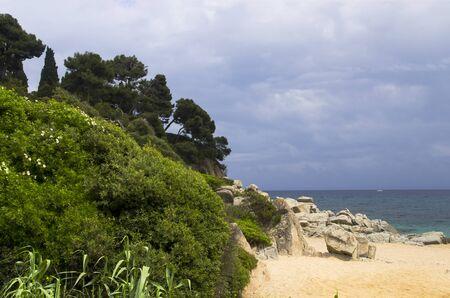 Coast of Spain in cloudy weather, landscape. Archivio Fotografico