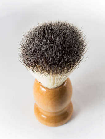 One shaving brush on white background