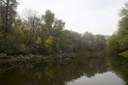 Landscape of an autumn river with trees on the bank