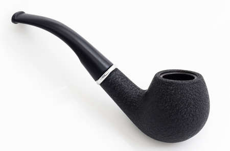 Black smoking pipe on a white background, one Archivio Fotografico