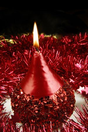 christmas candle and tinsel Stock Photo - 5995407