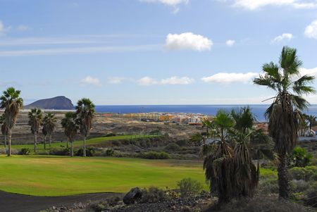 golf course with ocean view in Tenerife,Canary island photo