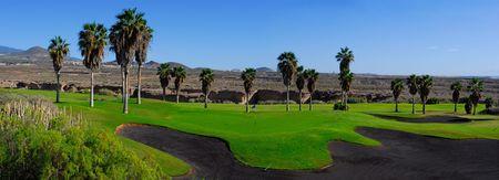 Golfbaan Panorama in Tenerife, Canarische eiland  Stockfoto