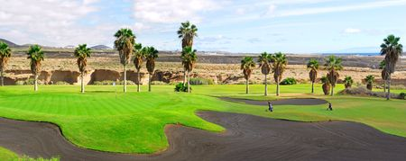 canary islands: golf course panorama in Tenerife