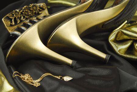 high heeled: woman shoes golden
