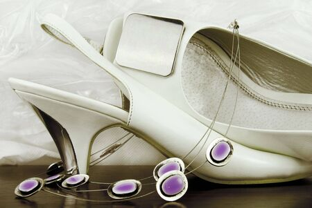 neckless: white bridal shoes with neckless in sepia colour