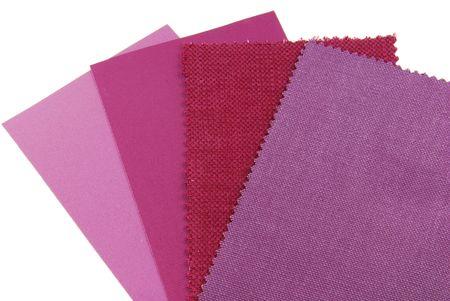 verschillende monsters van stof keuze in roze, paars en violet kleur Stockfoto