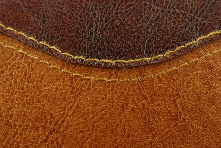 red leather texture: brown leather texture with seam Stock Photo