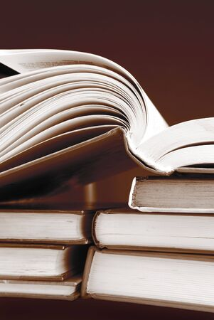 books in sepia color photo