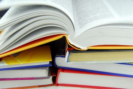 science text: stack of books Stock Photo