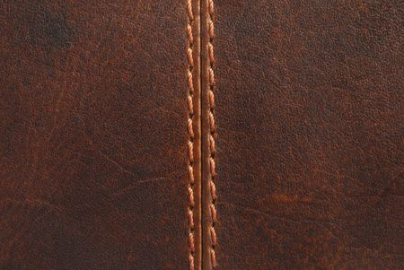 brown leather texture with seam Stock Photo