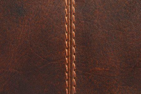 bruin lederen textuur met naad