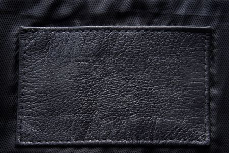 leather label: black leather label Stock Photo