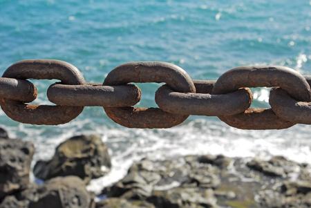 closeup of the rusty chain on coastline
