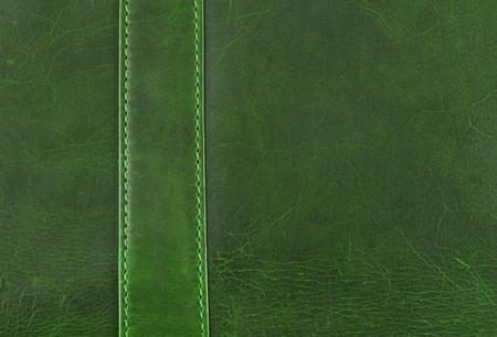 leren tas: groen leer textuur met naad Stockfoto