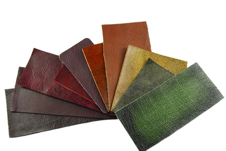 leather samples, choice of texture and color photo