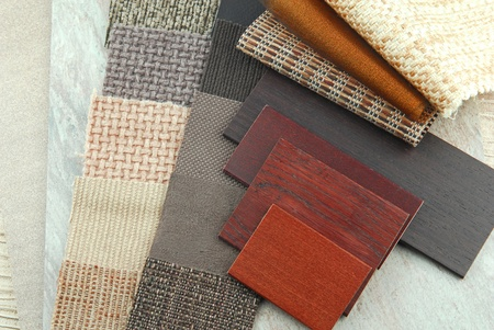 upholstery texture color and wood samples,decoration planning Stock Photo - 15821270