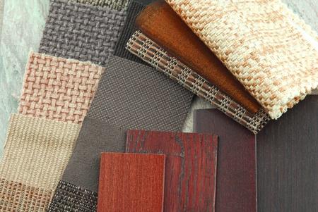 bekleding textuur kleur en houtmonsters, decoratie planning
