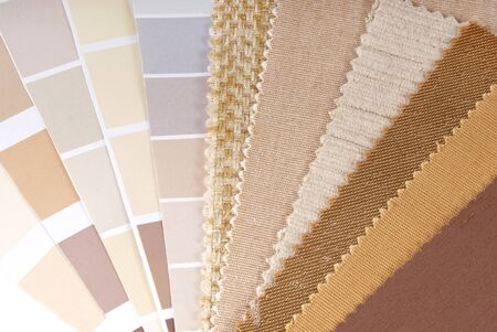 home furnishing: upholstery,curtain and color selection Stock Photo