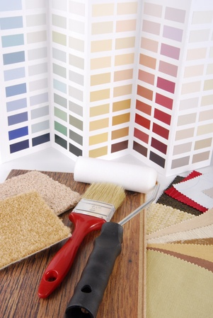 paint and material color choosing for interior decoration photo