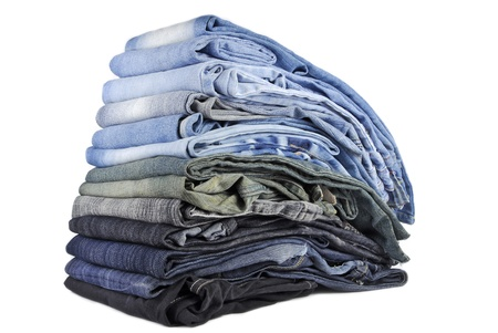stack of various jeans isolated on white background Stock Photo - 22149768